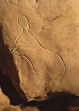 Female silhouette, Cussac Cave. Photo Norbert Aujoulat, CNP MCC